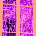 STAINED WINDOW PURPLE ORANGE 2018
